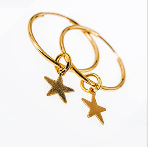 Dainty 14k Gold Filled Endless Hoops and Stars
