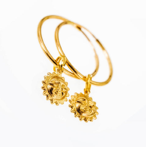 Dainty Sun Endless Hoop Earrings in 14k Gold Filled