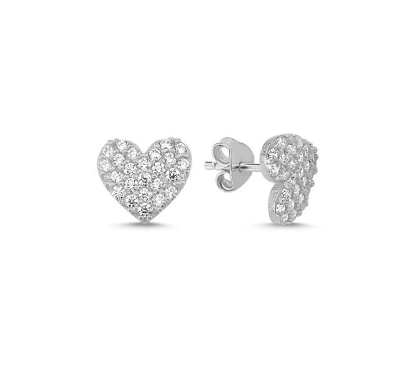 LILY LOVE HEART EAR STUD EARRINGS 14K GOLD PLATED - Byou Designs