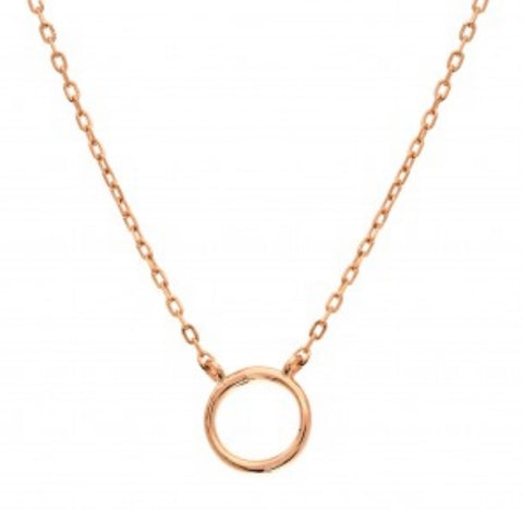 Dainty Circle of Love Necklace Rose Gold Sterling Silver