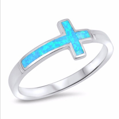 BLUE OPAL SIDEWAYS CROSS RING IN SILVER - Byou Designs