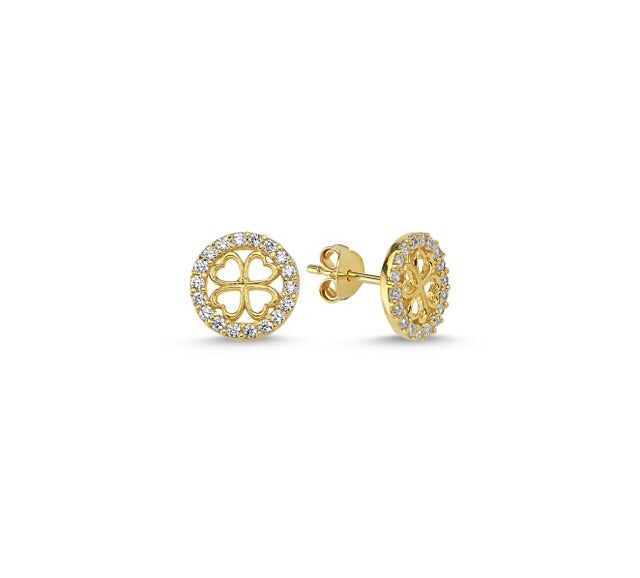 JULIA CLOVER EARRING EAR STUD IN 14K GOLD PLATED - Byou Designs