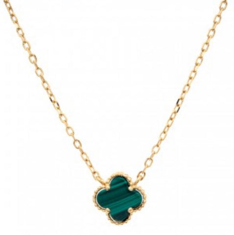 Clover  Malacite Necklace Chain Gold