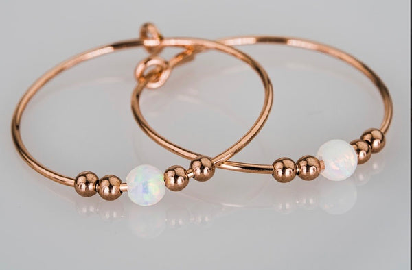Rose Gold Filled Endless Hoop Earrings White Opal Stone