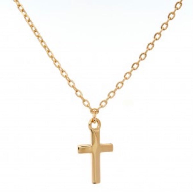 Dainty Cross Necklace Gold Plated on Sterling Silver