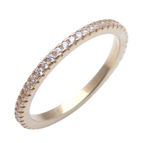 CIRCLE OF LOVE RING WITH GOLD PLATING AND CUBIC ZIRCONIA - Byou Designs