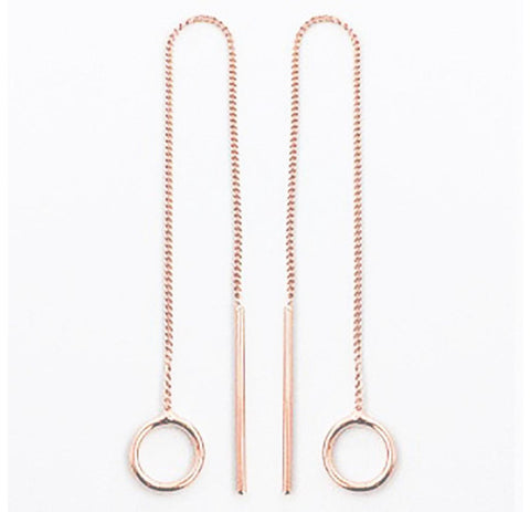 CIRCLE ROUND DROP THREAD THROUGH EARRINGS IN ROSE GOLD