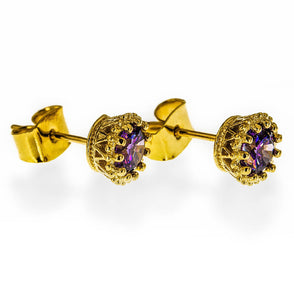 Amethyst Stone Earrings Earstuds in 14k Gold Filled