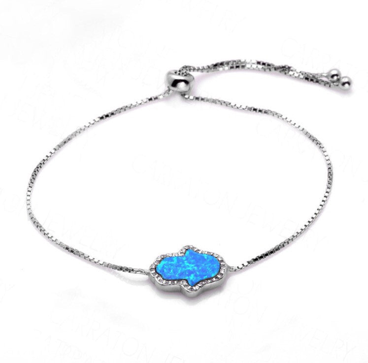 BLUE OPAL HAMSA HAND ADJUSTABLE BRACELET STERLING SILVER - Byou Designs