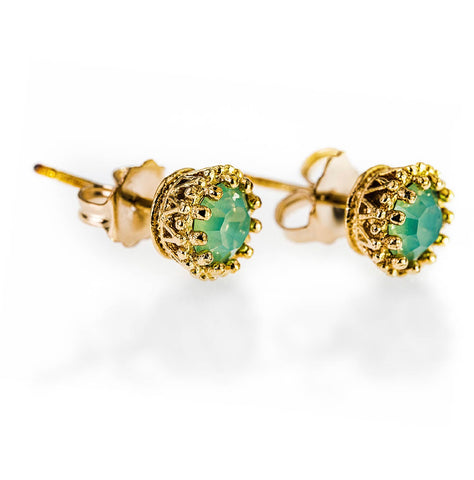 14k GOLD FILLED GREEN STONE EAR STUD