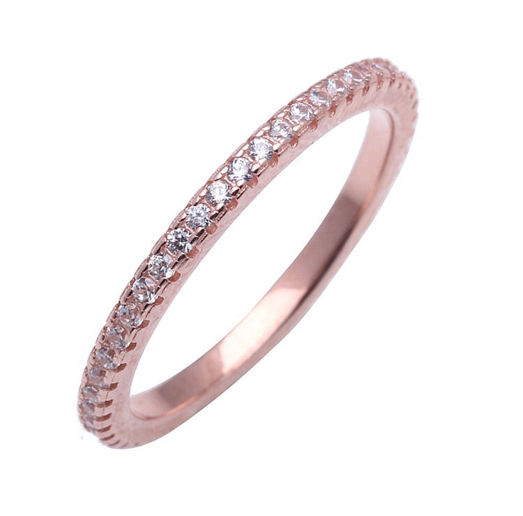 CIRCLE OF LOVE RING IN ROSE GOLD WITH CUBIC ZIRCONIA - Byou Designs