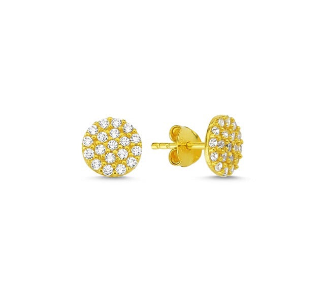 OLIVIA ROUND CIRCLE EAR STUD EARRINGS 14K GOLD PLATED - Byou Designs