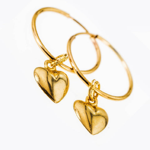 Dainty Love Heart Charms On Endless 14k Gold Filled Hoop Earrings