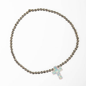 Beaded Stretch 3mm Sterling Silver Bracelet with White Opal Stone Cross