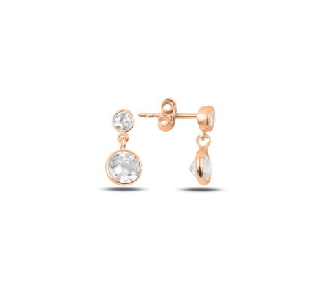CLEO DROP STUD EARRINGS IN ROSE GOLD - Byou Designs