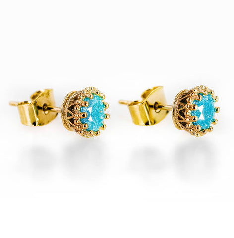 14k GOLD FILLED  BLUE STONE EAR STUD EARRINGS