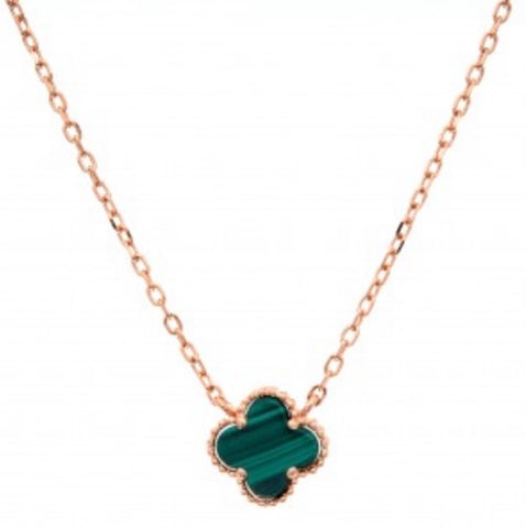Clover  Malachite  Necklace Chain Rose Gold