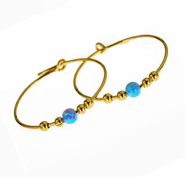 Gold Filled 14k Endless Hoop Earrings Blue Opal Stone