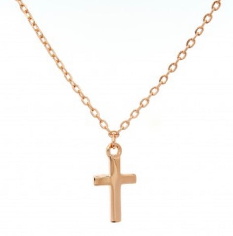 Dainty Cross Rose Gold Plated Necklace