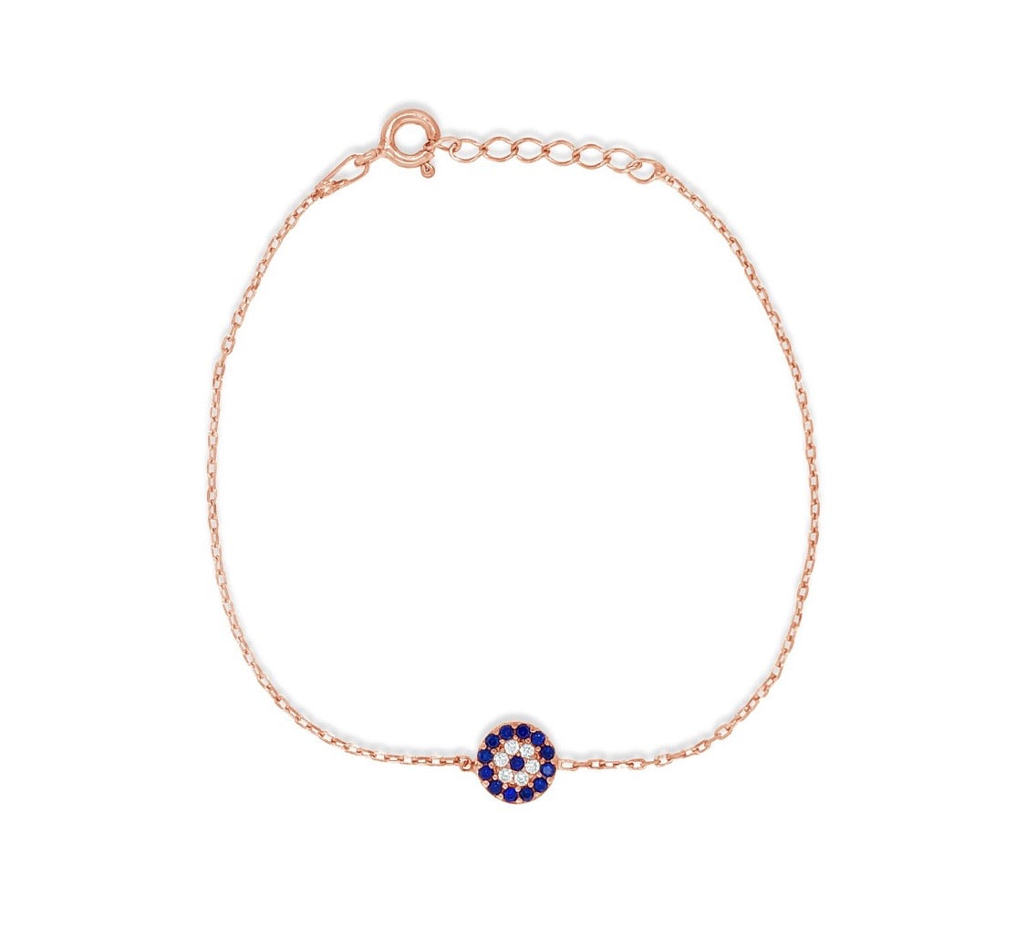 Evil Eye Rose Gold Protection Mati Bracelet
