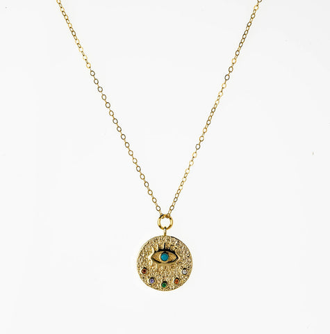 Evil Eye Pendant Charm 14k Gold Filled Necklace