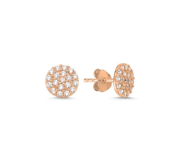 OLIVIA ROUND CIRCLE EAR STUD EARRINGS ROSE GOLD - Byou Designs