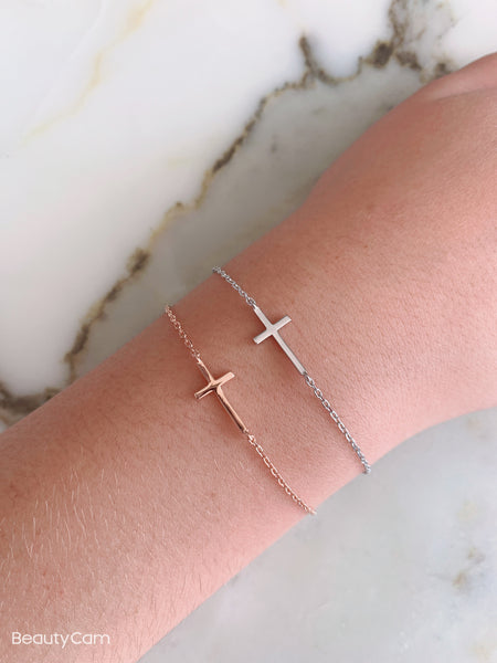Dainty Cross Sterling Silver Bracelet