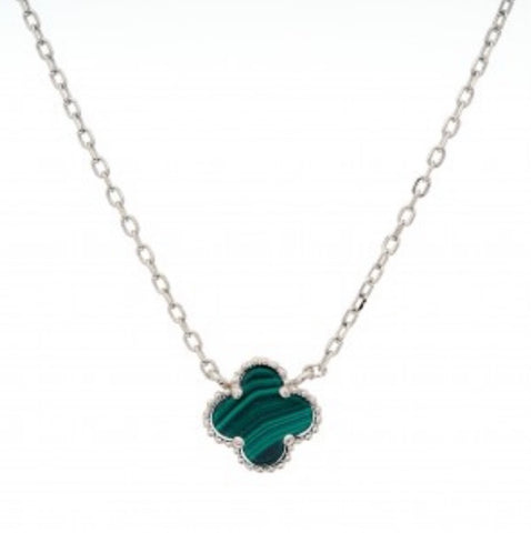 Clover Malacite Necklace Chain Sterling Silver