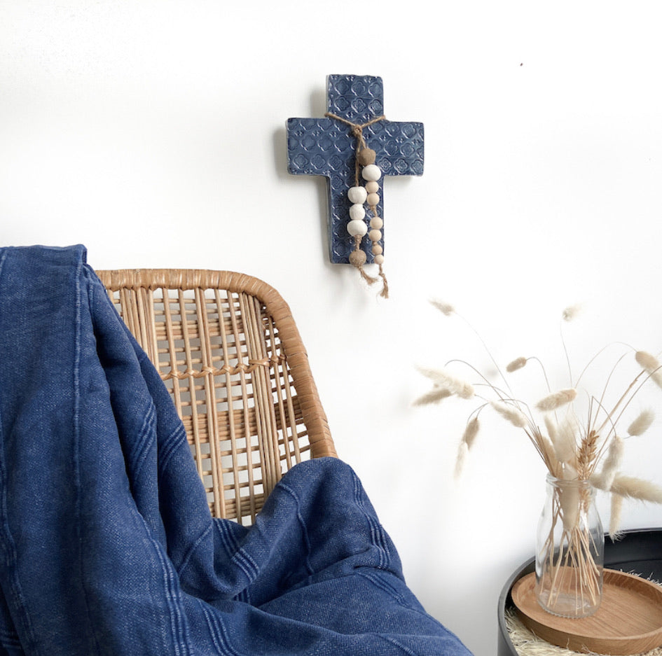 CERAMIC HANDMADE FAITH WALL CROSS HOME DECOR