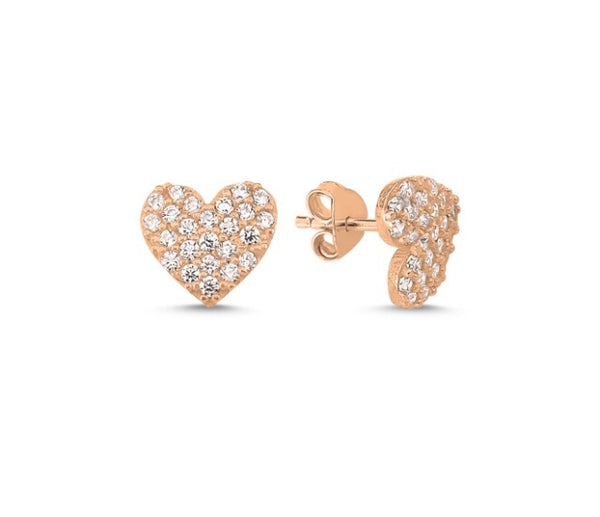 LILY LOVE HEART EAR STUD EARRINGS ROSE GOLD - Byou Designs