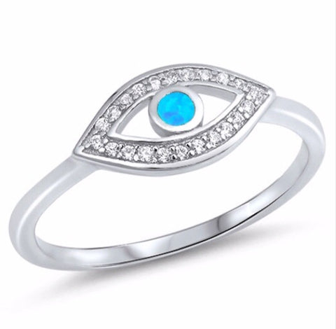 BLUE OPAL EVIL EYE RING IN SILVER - Byou Designs
