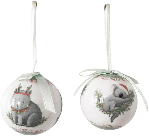 Australian Animals Christmas Bauble Tree Decoration Gift Box Set