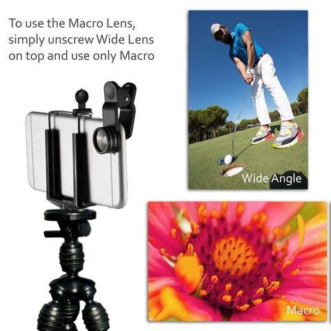 iPhone Camera Lens Kit by CamRah (2017 Version) - 3 in 1 Lens Kit with Free Bonus Octopus Tripod and Lens Clip for iPhone and other Mobile Devices