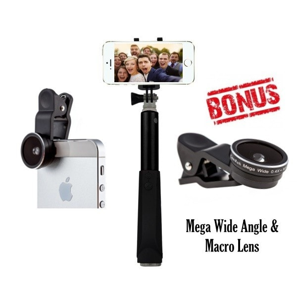 Pro Series Bluetooth Selfie Stick with Mega Wide Angle & Macro Lens