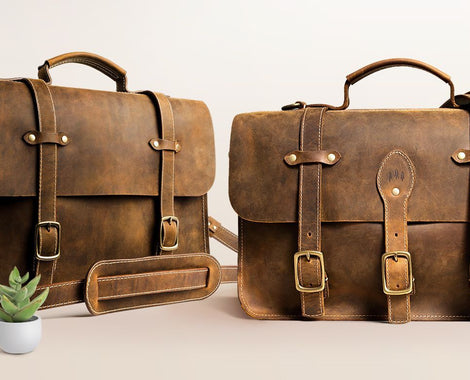Men's Messenger Bags crossbody xl briefcase in canyon brown full grain leather, made by Portland Leather Goods