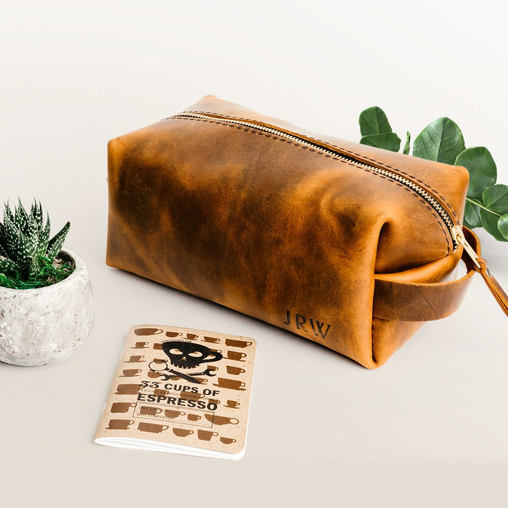 leather dopp handmade
