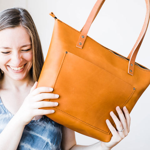 Carly with Saddle leather zipper tote