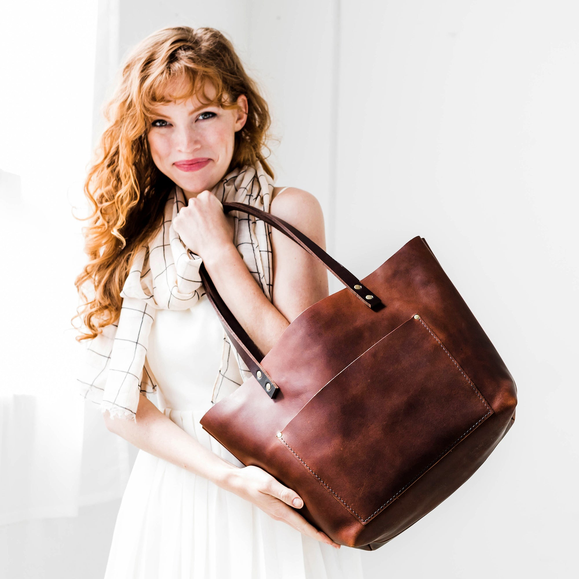 brown leather tote bag purse handmade