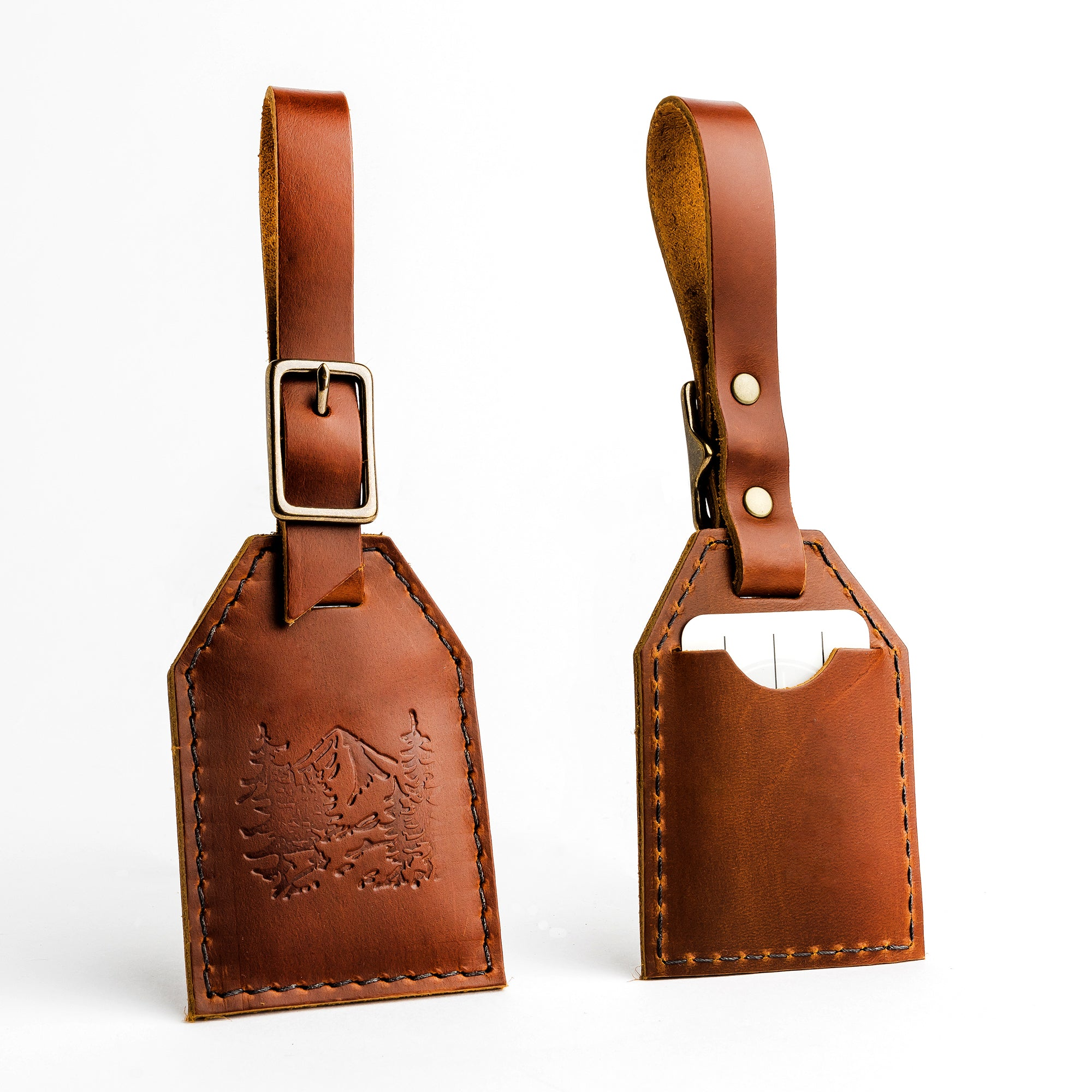 Portland Leather Luggage Tags in hickory with and so the adventure begins tag with snap on baggage