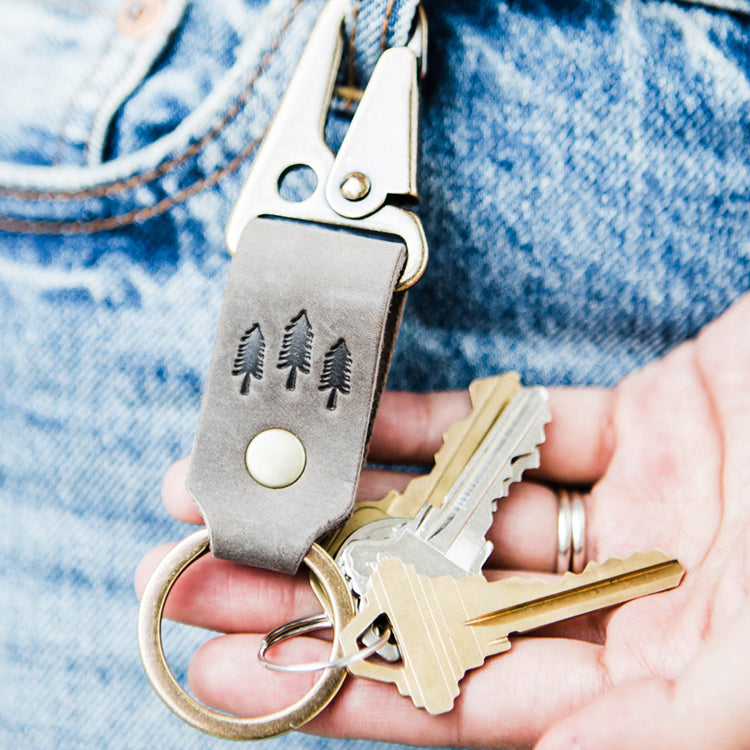Portland Leather Goods keychain with brass hardware and clip in grizzly leather