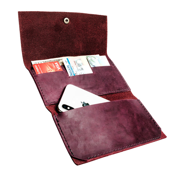 Rancher Leather Wallet in Merlot