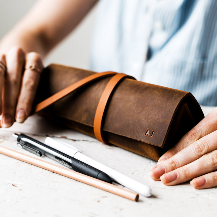 Leather Pencil Cases with small initials monogram and artist supplies Portland Oregon in brown canyon