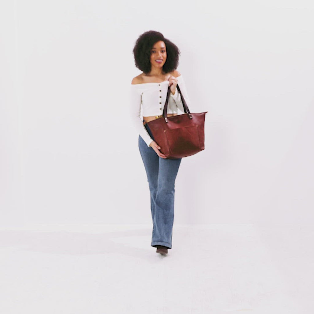 Nutmeg Dark Brown Small + Nutmeg Dark Brown Medium + Nutmeg Dark Brown Large + Nutmeg Dark Brown Oversized | leather tote bag