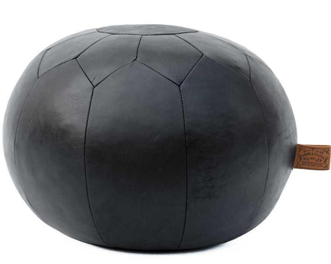 HUDSON Round Black Leather Pouf
