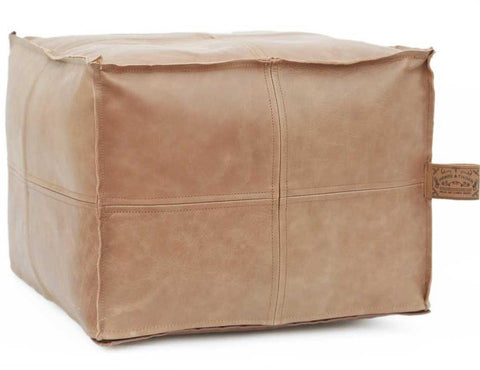 HUDSON Square Caramel Leather Pouf