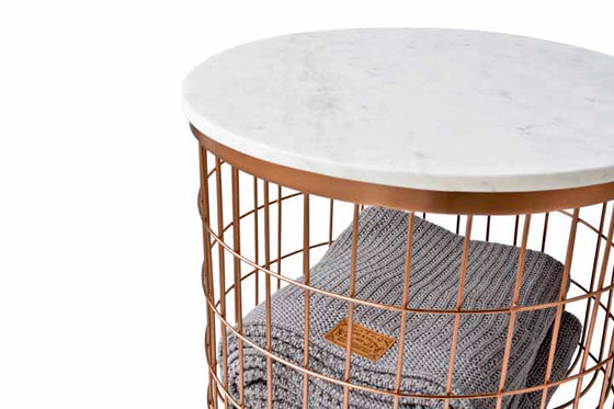 JACKSON // STORAGE TABLE- COPPER// MARBLE