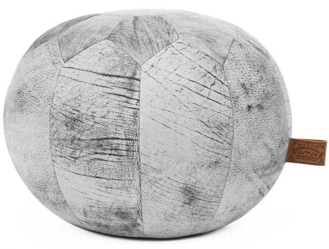 HUDSON Round Marble Leather Pouf