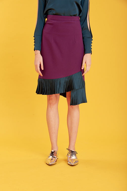 ZN121713S : TWO-TONE SKIRT