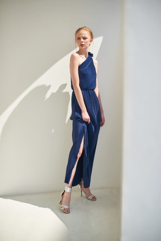 ZX021601 navy  One Sholder Pleat Maxi Dress