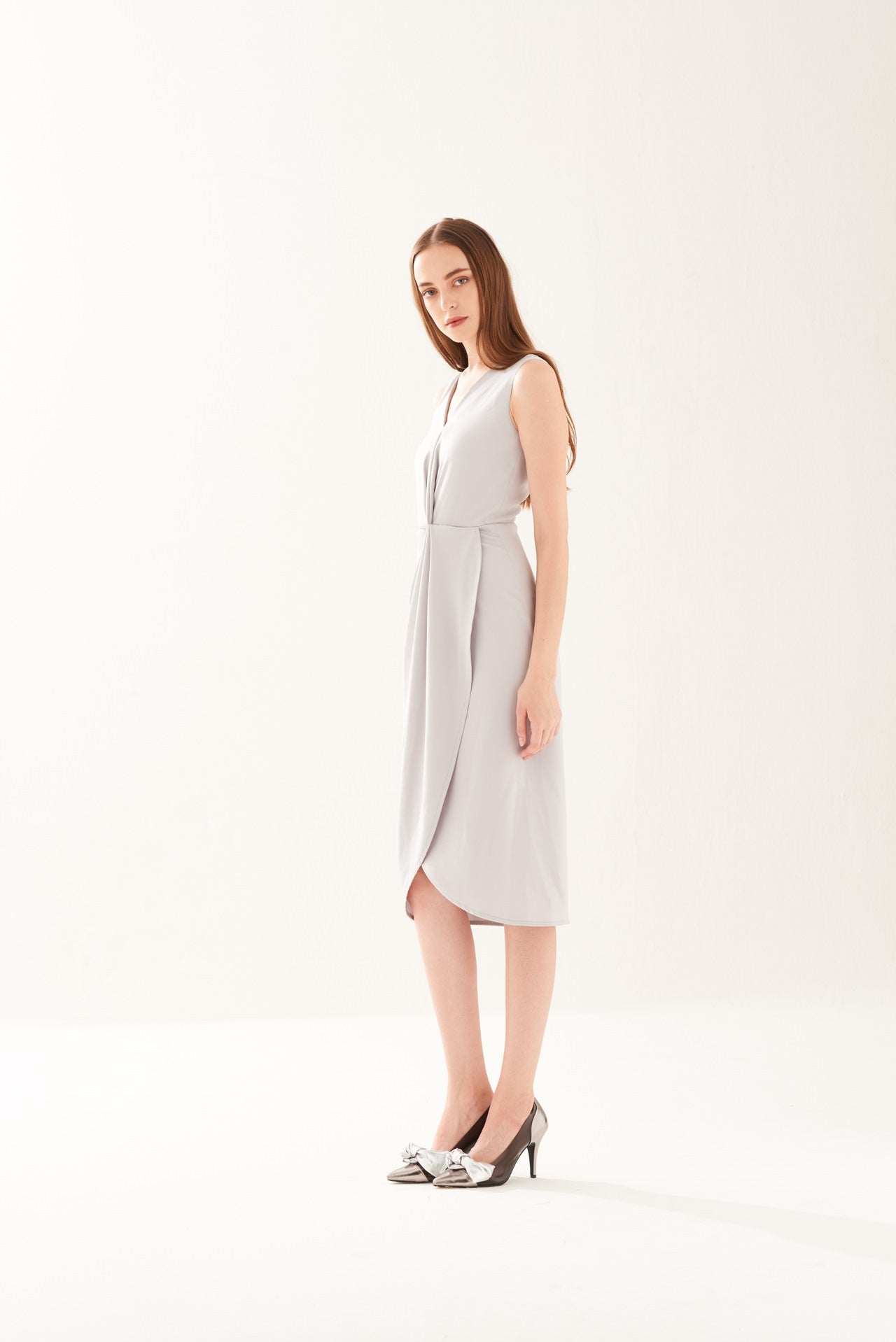 ZS021703DGY : DRAPED DRESS